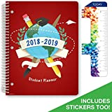 """Dated Elementary Student Planner for Academic Year 2018-2019 (Matrix Style - 8.5""""x11"""" - Red Globe Cover) - Bonus Ruler/Bookmark and Planning Stickers"""