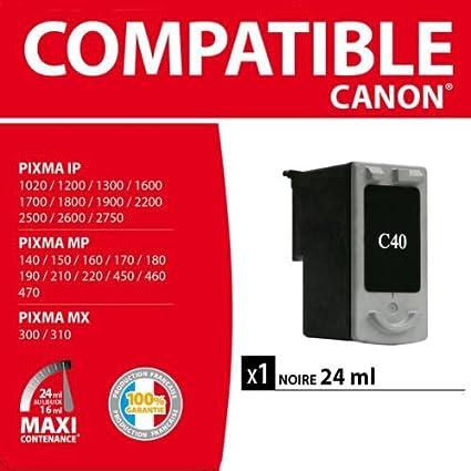 Canon PG-40 - Cartucho de tinta para impresoras (Negro, iP1300, iP1600, iP1700, iP1800, iP1900, iP2200, iP2500, iP2600, JX200, JX210P, JX500, JX510P, MP140, Inyección de tinta, Ampolla): Amazon.es: Oficina y papelería