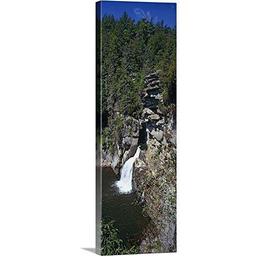 GREATBIGCANVAS Gallery-Wrapped Canvas Entitled High Angle View of a Waterfall, Linville Falls, Blue Ridge Mountains, Burke County, North Carolina, by - Natural Linville