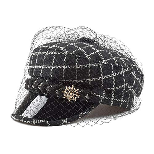 Tweed Cap Newsboy Women Black Baker Boy Hats with Veil Winter Sailor Newspaper Painters,Black caps,M (56-58 cm)