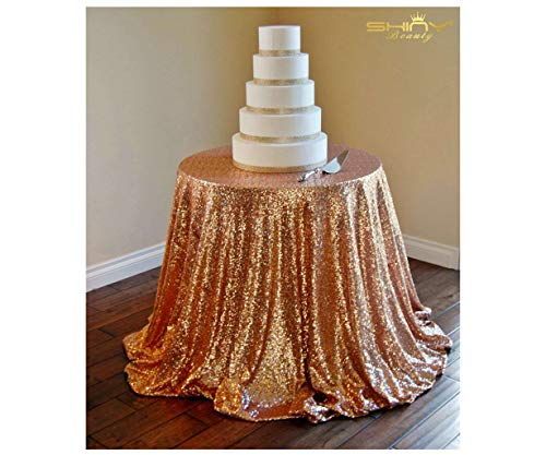 (120''(300cm) Round Rose Gold Sequin Table Cloth Cake Table Sequin Tablecloth Wholesale Sequin Table Cloths Sequin Linens Gold Sequin Dropping to The Floor)