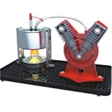 Sunnytech Mini Hot Live Steam Engine Model Education Toy DIY (V-Type)