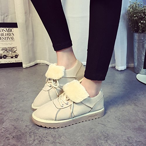 NSXZ Winter new suede round head with plush thick snow boots ankle boots METERSWHITE-120W qizn74aV