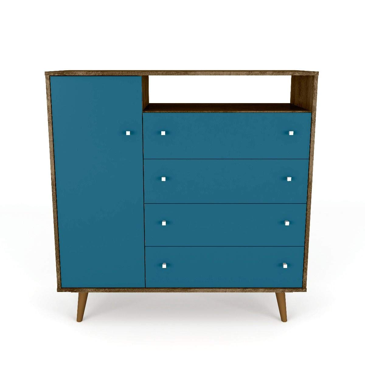 Mid Century Modern Sideboard Dresser Chest with 4 Drawers 4 Shelves 1 Door and Solid Wood Splayed Legs - Includes Modhaus Living Pen (Rustic Brown and Aqua Blue)
