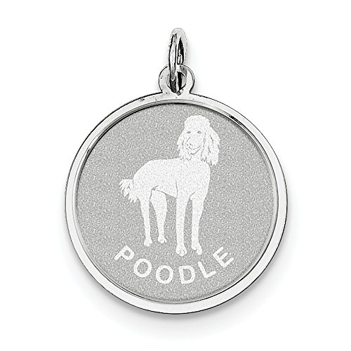 (Sterling Silver Solid Faceted Engravable Laser Etched Fancy Lobster Closure Poodle Disc Charm)