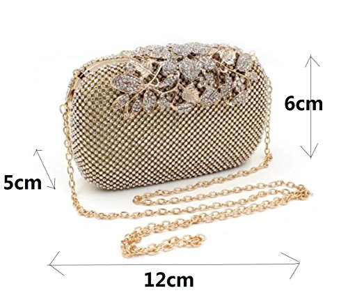 Rose Purse Rhinestone Flower Luxury Crystal Black Bag Bags Evening Handbag Body Clutch Cross wx6Ua4HBq
