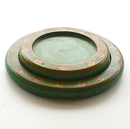 Painted Candle Plates by Worldcraft Industries, 4x4x3/4'', Green by Worldcraft Industries