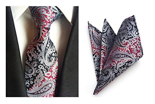 MENDENG Men Silver Black Red Floral Paisley Necktie Silk Tie Hanky 2 Pieces Sets