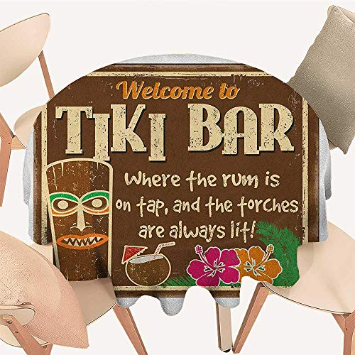 (longbuyer Tiki Bar Tassel Tablecloth Aged Old Frame Sign of Tiki Bar with Inspirational Quote Leisure Travel Print Round Tablecloth D 50