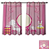 Anzhouqux Girls Blackout Thermal Curtain Panel Lady Sitting in Front of French Cosmetic Make Up Mirror Furniture Dressy Design Patterned Drape for Glass Door Pink Yellow W72 x L72 inch