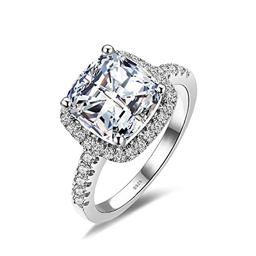 JewelryPalace Cushion 3ct Cubic Zirconia Wedding Halo Solitaire Engagement Ring 925 Sterling Silver Size 7