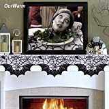 Ecosmart Fireplace Bat Halloween 5pcs 50x200cm Spider Web Bats Fireplace Mantel Scarf Halloween Party Decoration Black Lace Polyester Bats Cover