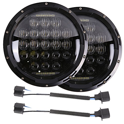 7 inch LED Headlights DOT Smoke with Cree Chip Lights Bulbs DRL Accessories Set Kit Projector Headlamps Headlight Light for Jeep Wrangler JK JKU TJ LJ CJ Sahara Rubicon Unlimited Sport Black