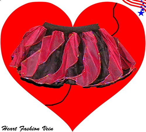 Red Black Sequins Twister Two Tone Tutu Skirt Halloween Ladybug Queen of Heart (Barbie Doll Halloween Costumes Adults)