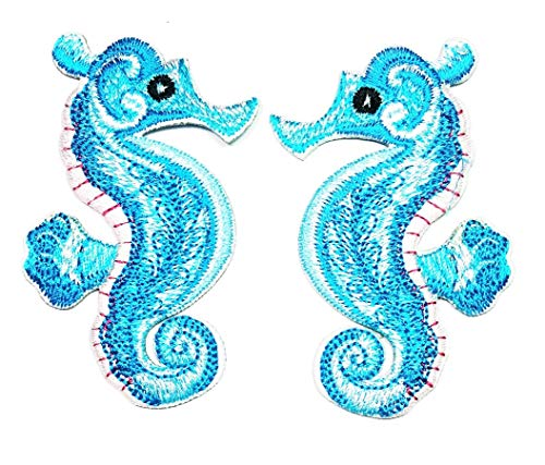 - Blue Seahorse sea Horse Fish Love Patch Underwater Ocean Sea Life Iron Sew On Embroidered Applique for Clothes Backpacks T-Shirt Jeans Skirt Vests Scarf Hat Bag Patch Cartoon Sticker