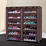 Shoe Rack Shoe Storage Organizer Cabinet Tower 6 Tiers 36Pair Shoe Rack Portable Boot Rack Double Row Space Saving Stackable Shoe Tower Shoe Storage Organizer Shelves Nonwoven Fabric Cover (Coffee)