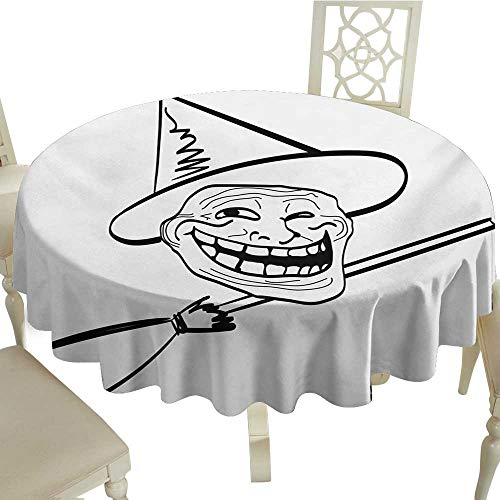 Cranekey The Restaurant Round Tablecloth 70 Inch Humor,Halloween Spirit Themed Witch Guy Meme LOL Joy Spooky Avatar Artful Image Print,Black and White Great for,Holiday Dinner & -