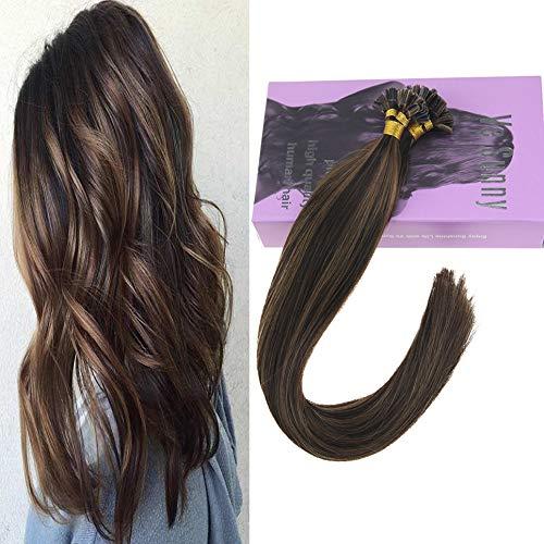 VeSunny 16inch U Tip Hair Extensions Human Hair Color #2 Darkest Brown Mixed #6 Light Brown U Tip Keratin Fusion Human Hair Extensions 50Gram Per Package ()
