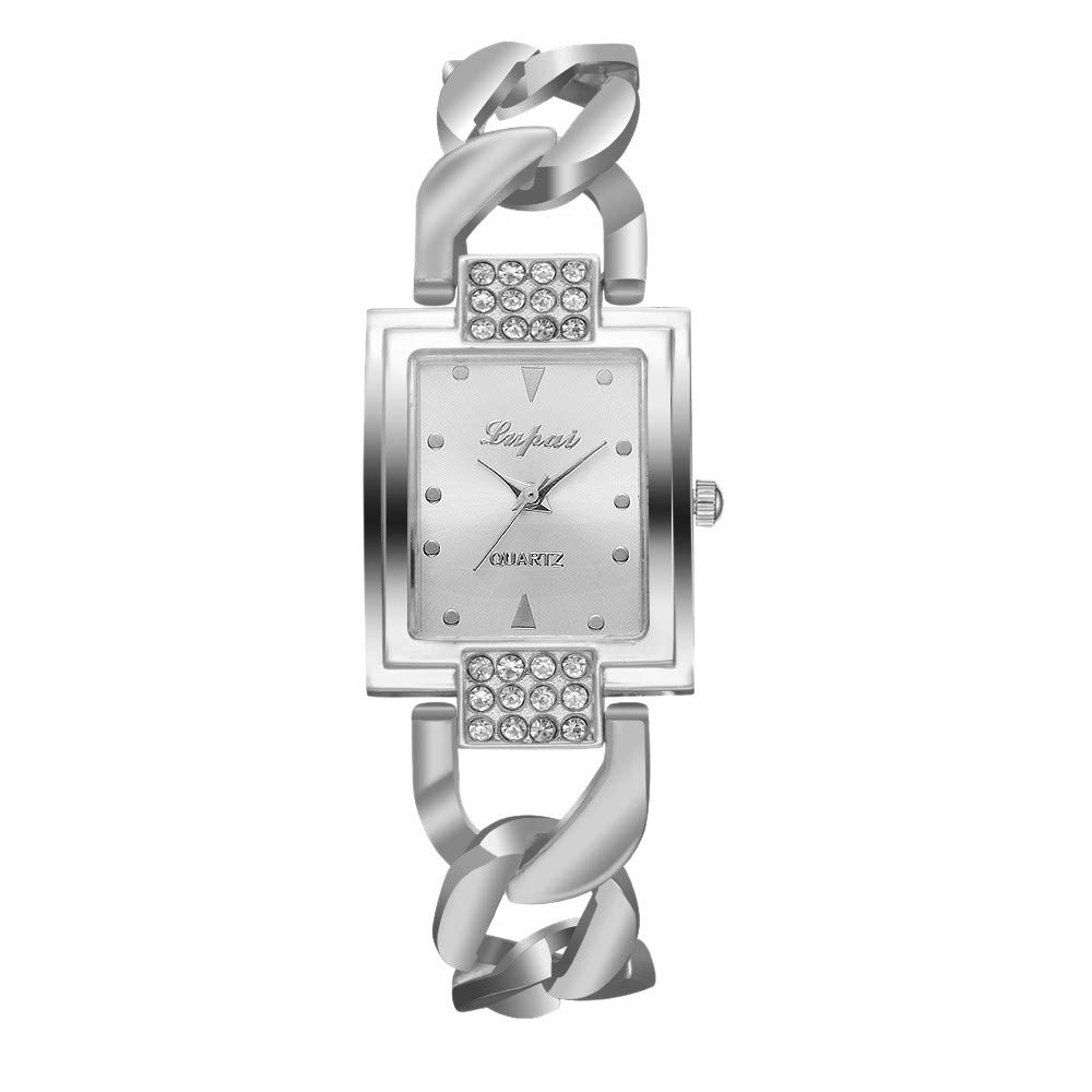 Amazon.com: Watches,WoCoo Reloj de Mujer Square Angel Diamond Dial with Stainless Steel Band Wrist Watch(E): Kitchen & Dining