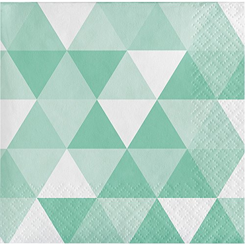 Creative Converting 324474 192 Count Beverage Paper Napkin, Fractal Fresh Mint