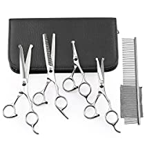 Dog Grooming Scissors Set, 5 Pieces Professional Round-tip Stainless Steel Pet Hair Trimming Scissor Shears Kit Durable Home Eye Cutter for Dogs and Cats with Pouch and Comb by ihoven