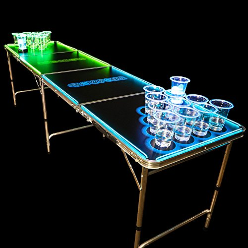 GLOWPONG Classic Glowing Game Table - 8 Foot Regulation Size
