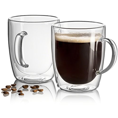 18 oz Large Coffee Mugs Double Wall Insulated Glass, Unique Gift set of 2. Keeps Hot Or Cold Drinks For Longer - Beer Mugs Freeze, Dishwasher, Microwave Safe - Bonus eBook