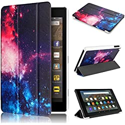 Fire HD 8 Case 7th generation 2017 Release, Swees Slim Folio Protective Leather Smart Case Cover with Stand for All New Amazon Fire HD 8 Tablet with alexa 7th gen 2017 Kids Friendly, Galaxy