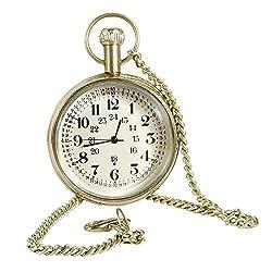 Antique Hollow Case Retro Numerals Dial Pocket Watch Brass Metal - 1.8 Inch
