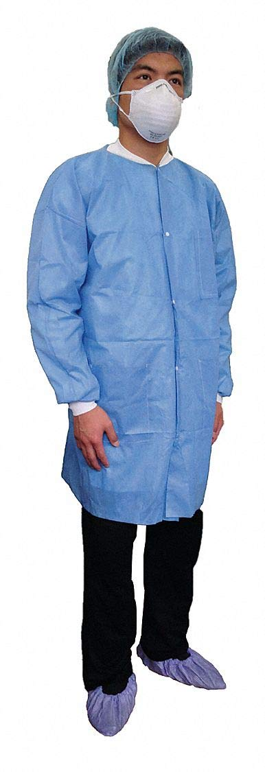 Basic SMS Disposable Lab Coat Blue L