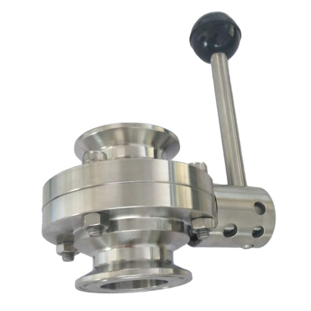 Almencla 51mm Tri Clamp Sanitary Butterfly Valve Stainless Steel for Pharmaceutical Chemical Industries