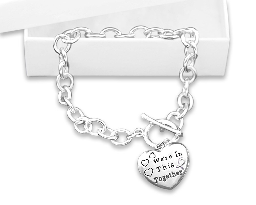 Fundraising For A Cause Chunky Purple Ribbon Charm on Black Cord Bracelet Retail