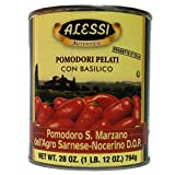 Alessi DOP Whole Peeled San Marzano Tomatoes with Basil, 28 Ounce (Pack of 12)
