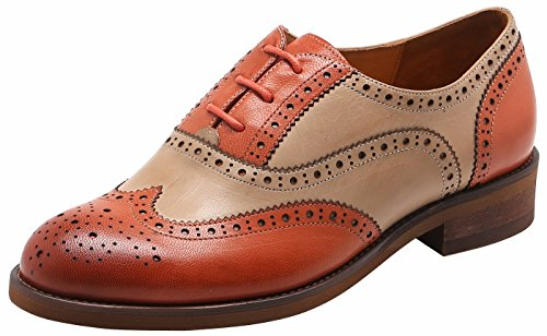 U-lite Muticolor Womens Perforated Lace-up Wingtip Leather Flat Oxfords Vintage Oxford Shoes 8 Orange Beige