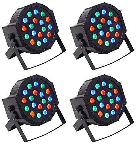 4 Par Cans - (4) Rockville RockPAR50 LED RGB Compact Par Can DJ/Club DMX Wash Lights