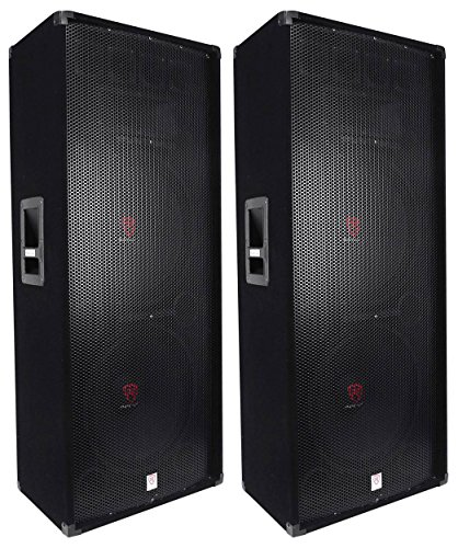 (2) Rockville RSG15.24 Dual 15 3000 Watt 3-Way 4-Ohm Passive DJ/PA Speaker (Dj 3000)