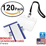 Waterproof Plastic Name Tags ID Card Holder Lanyards for Kids Name Labels School Camp Field Trip Business Event Trade Show Conference Badge Holders Name Tag with Lanyard (Black Horizontal, 120 Sets)