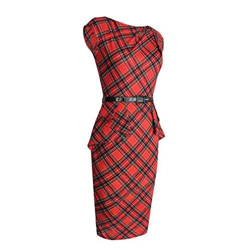 La Vogue Robe Genou Rouge Tartan Sans Manche Fourreau Taille Haut Slim Ceinture