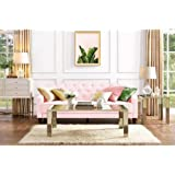 9 by Novogratz 2020657N Elegant Vintage Tufted Slim Sloped-Arms Sofa Sleeper II, Pink Velour