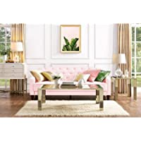 9 by Novogratz 2020657N Elegant Vintage Tufted Slim Sloped-Arms Sofa Sleeper II, Pink Velour