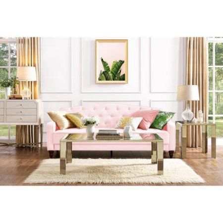 9 by Novogratz 2020657N Elegant Vintage Tufted Slim Sloped-Arms Sofa Sleeper II, Pink Velour Review