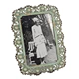 Decorative Vintage Metal Pearl 4 by 6 Inch Photo Frame Antique Green