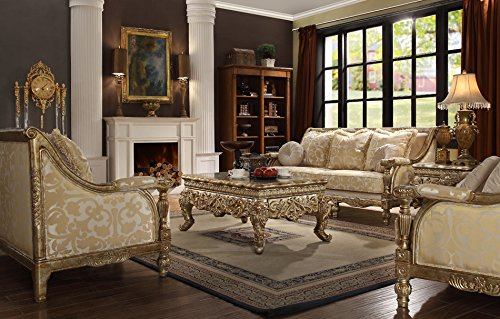 Inland Empire Furniture Goldina Formal Gold Wood Trim Sofa, Love Seat and Chair