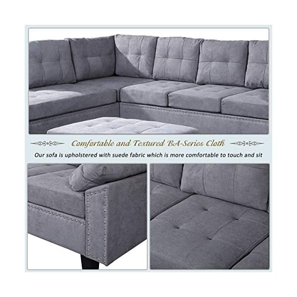 Fantastic Harper Bright Designs Sectional Sofa Couch With L Chaise Lounger And Storage Ottoman For Living Room Home Furniture Set Grey Inzonedesignstudio Interior Chair Design Inzonedesignstudiocom