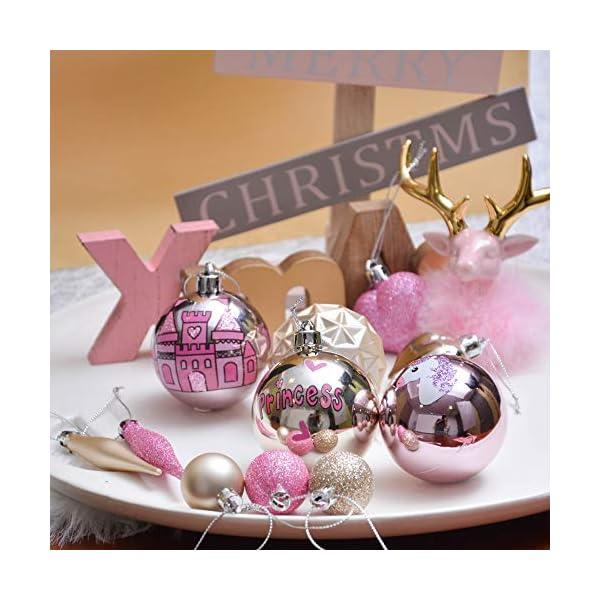 Valery Madelyn Palle di Natale 70 Pezzi di Palline di Natale, 3-10 cm Ricoperte di Zucchero Rosa e Oro Infrangibile Ornamenti di Palla di Natale Decorazione per la Decorazione Dell'Albero di Natale 6 spesavip