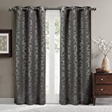 Virginia Gray Grommet Blackout Weave Embossed Window Curtain Panels, Pair / Set of 2 Panels, 37x96 inches Each, by Royal Hotel