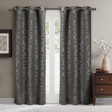 Virginia Gray Grommet Blackout Weave Embossed Window Curtain Panels, Pair / Set of 2 Panels, 37x108 inches Each, by Royal Hotel
