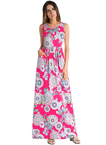 Ruiyige Women Floral Print Racerback Casual Tunic Long Maxi Dress Tank Dress with Pocket Rose Red L