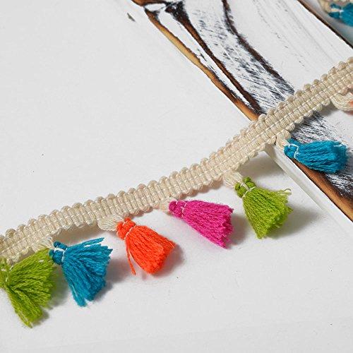 Ivory Tassel Fringe - Tassel Fringe with Braid Trim by 1-yard, Ivory/Multicolor, 1-1/2