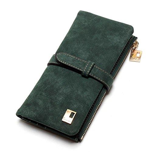 Haoling Nubuck Femmes Femmes Bourse Zipper Wallet Longue Portefeuilles Army Drawstring Fold Embrayage Deux Mode Cuir Green xIwI8qr1
